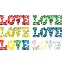 Word love in stained glass style vector image