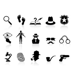 black detective icons set vector image vector image