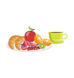 Croissant fruit and coffee breakfast food drink vector