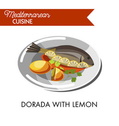 dorada with lemon red sauce and fresh greenery vector image vector image