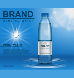 Pure mineral water ad plastic bottle with water vector