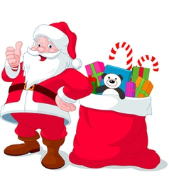 Santa Claus with sack full of gifts vector image vector image