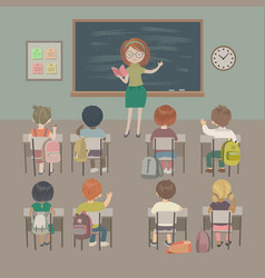 school lesson little students and a teacher vector image