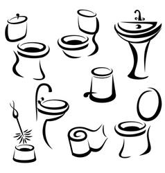 WC santary icons set vector image vector image