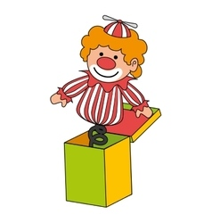 Clown suprise box toy icon vector