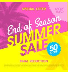 end of season summer sale banner design template vector image vector image