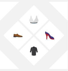 flat icon garment set of heeled shoe uniform vector image