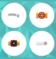 flat icon sanitary set of pump valve drain vector image vector image