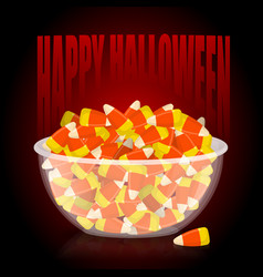 happy halloween bowl and candy corn sweets on vector image