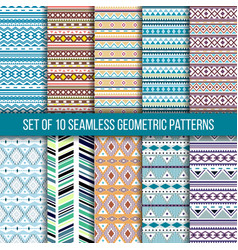 set of 10 seamless geometric patterns vector image vector image