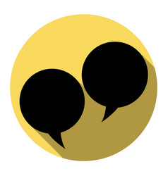 speech bubble sign flat black icon with vector image