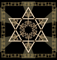 Star of david decoration tile with geometric vector