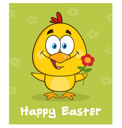 yellow chick character with happy easter text vector image vector image