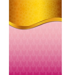 Abstract pink celebration paper with golden ribbon vector