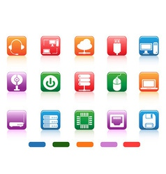 computer devices and components buttons icon vector image