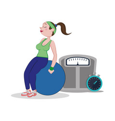 Fitness woman fitball weight scale and stopwatch vector
