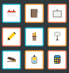 flat icons calculate identification highlighter vector image vector image