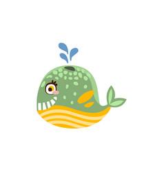 funny whale sea creature hand drawn vector image