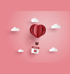 origami made hot air balloon and cloud vector image vector image