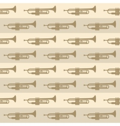 seamless vintage background with trumpets vector image