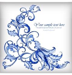 Watercolor blue backgroundGzhel details vector image