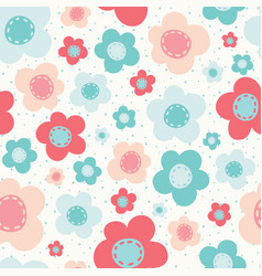 bright colorful flowers pink blue white sea vector image