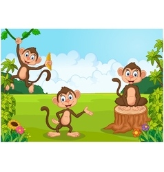 Cartoon monkey playing in the forest vector image vector image
