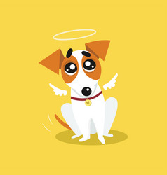 cute jack russell terrier with angel wings and a vector image