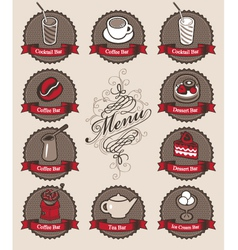 drinks and dessert vector image