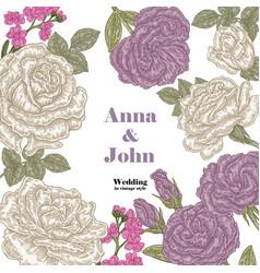 floral wedding invitation card sketch vector image