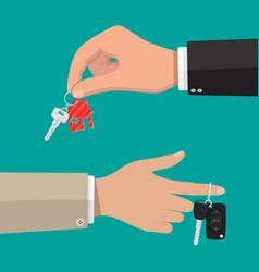 Key with keychain house and car key with alarm vector