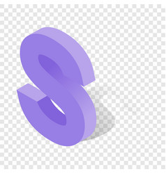 s letter in isometric 3d style with shadow vector image