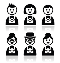 Tourist travelling people with cameras icons set vector image vector image