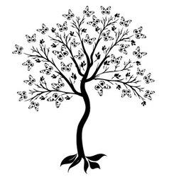 tree of butterflies vector image vector image