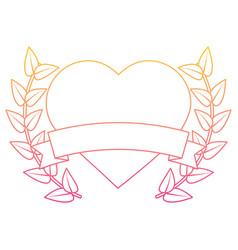 valentines day heart love romantic ribbon emblem vector image