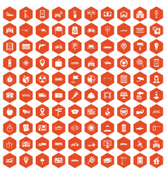 100 car icons hexagon orange vector