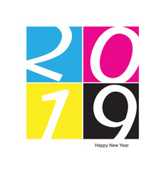 2019 happy new year cmyk offset printing vector image