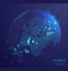 Abstract globe earth with connecting dots vector
