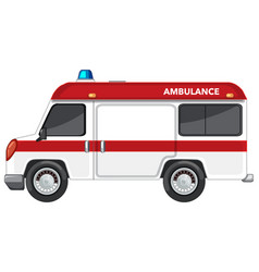 Ambulance van on white background vector