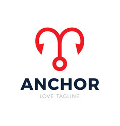 anchor and heart love logo stock symbol or icon vector image
