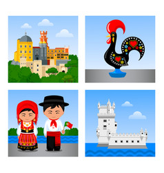 attractions in portugal vector image