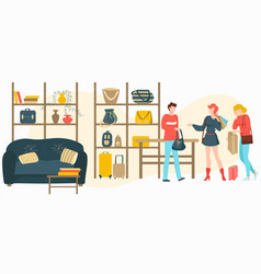 Bags baggage store with people customers buy vector