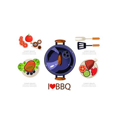 barbecue icons set grilling equipment grilled vector image