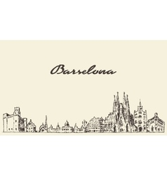 Barcelona Spain vintage hand drawn sketch vector image