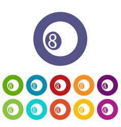 billiard ball icons set color vector image