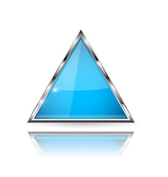 Blue glass 3d button with metal frame triangle vector