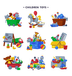 Boxes children toys set various objects vector