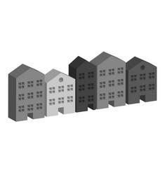 building housing street in grey vector image