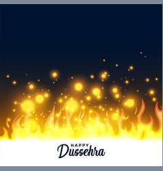 Burning fire flame happy dussehra festival vector