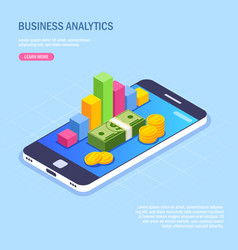 business analytics via mobile phone money stack vector image